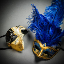 Phantom Full Face Musical Black Gold & Venetian Gold Mardi Gras Blue Tall Feather Couple Masks