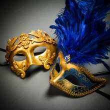 Roman Warrior Metallic Gold & Venetian Gold Mardi Gras Blue Tall Feather Couple Masks