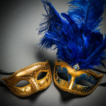 Venetian Classic Eye Mask with Glitter Gold & Venetian Gold Mardi Gras Blue Tall Feather Couple Masks