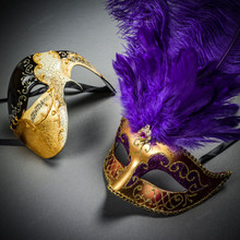 Phantom Full Face Musical Black Gold & Venetian Gold Mardi Gras Purple Tall Feather Couple Masks