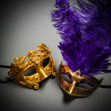 Roman Warrior Metallic Gold & Venetian Gold Mardi Gras Purple Tall Feather Couple Masks
