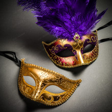 Venetian Classic Eye Mask with Glitter Gold & Venetian Gold Mardi Gras Purple Tall Feather Couple Masks