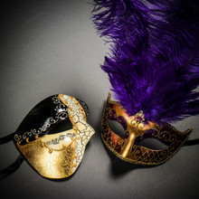 Phantom Half Face Musical Black Gold & Venetian Gold Mardi Gras Purple Tall Feather Couple Masks