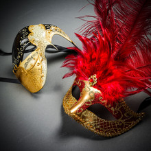 Phantom Full Face Musical Black Gold & Venetian Gold Mardi Gras Red Tall Feather Couple Masks