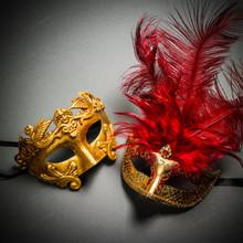 Roman Warrior Metallic Gold & Venetian Gold Mardi Gras Red Tall Feather Couple Masks