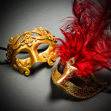 Roman Warrior Metallic Gold & Venetian Gold Mardi Gras Red Tall Feather Couple Masks