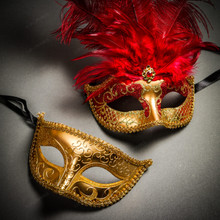 Venetian Classic Eye Mask with Glitter Gold & Venetian Gold Mardi Gras Red Tall Feather Couple Masks