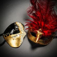 Phantom Half Face Musical Black Gold & Venetian Gold Mardi Gras Red Tall Feather Couple Masks