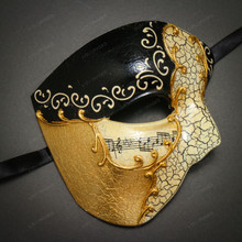 Phantom Half Face Musical Black Gold & Venetian Gold Mardi Gras Red Tall Feather Couple Masks