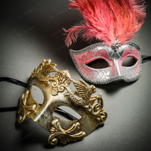Roman Warrior Metallic Silver & Venetian Silver Mardi Gras Pink Tall Feather Couple Masks