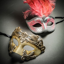 Roman Warrior Cracked White Silver & Venetian Silver Mardi Gras Pink Tall Feather Couple Masks