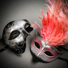 Phantom Full Face Silver Glitter & Venetian Silver Mardi Gras Pink Tall Feather Couple Masks