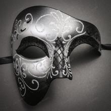 Phantom Full Face Silver Glitter & Venetian Silver Mardi Gras Pink Tall Feather Couple Masks
