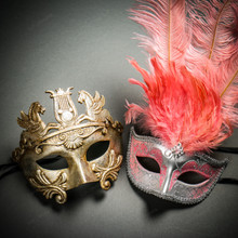 Pegasus Horses Emperor Metallic Silver & Venetian Silver Mardi Gras Pink Tall Feather Couple Masks