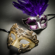 Roman Warrior Cracked White Silver & Venetian Silver Mardi Gras Black Purple Feather Couple Masks