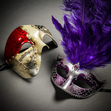Phantom Full Face Musical Red Gold & Venetian Silver Mardi Gras Black Purple Feather Couple Masks
