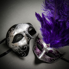 Phantom Full Face Silver Glitter & Venetian Silver Mardi Gras Black Purple Feather Couple Masks