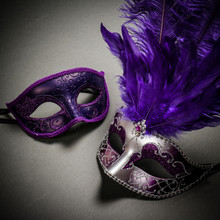 Venetian Classic Eye Mask with Glitter Purple & Venetian Silver Mardi Gras Black Purple Feather Couple Masks