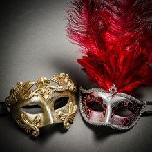 Roman Warrior Metallic Silver & Venetian Silver Mardi Gras Red Tall Feather Couple Masks