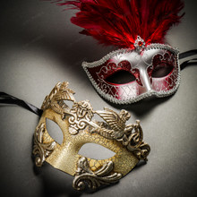 Roman Warrior Cracked White Silver & Venetian Silver Mardi Gras Red Tall Feather Couple Masks