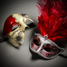 Phantom Full Face Musical Red Gold & Venetian Silver Mardi Gras Red Tall Feather Couple Masks