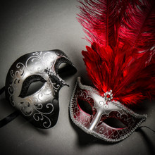 Phantom Full Face Silver Glitter & Venetian Silver Mardi Gras Red Tall Feather Couple Masks