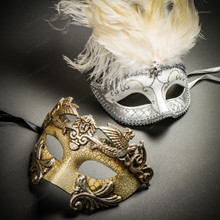 Roman Warrior Cracked White Silver & Venetian Silver Mardi Gras White Tall Feather Couple Masks