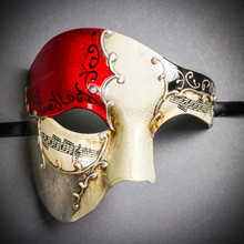 Phantom Full Face Musical Red Gold & Venetian Silver Mardi Gras White Tall Feather Couple Masks