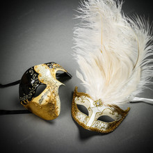 Phantom Full Face Musical Black Gold & Venetian Gold Mardi Gras Black White Feather Couple Masks