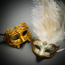 Roman Warrior Metallic Gold & Venetian Gold Mardi Gras Black White Feather Couple Masks