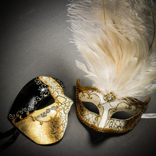Phantom Half Face Musical Black Gold & Venetian Gold Mardi Gras Black White Feather Couple Masks