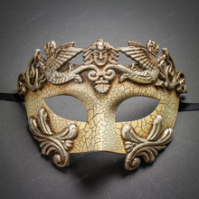Roman Warrior Cracked White Silver & Butterfly Lace Side Feather Black Silver Couple Masks