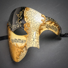 Phantom Full Face Musical Black Gold & Butterfly Lace Side Feather White Gold Couple Masks