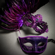 Venetian Classic Eye Mask with Glitter Purple & Venice Side Feather Black Couple Masks
