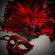 Venetian Classic Eye Mask with Glitter Red & Venice Carnival with Top Feather Red Couple Masks