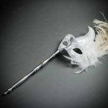 Venetian Side Feather Masquerade Mask with Stick - Silver White (full)