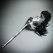 Venetian Side Feather Masquerade Mask with Stick - Silver Black (whole mask)