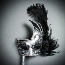 Venetian Side Feather Masquerade Mask with Stick - Silver Black