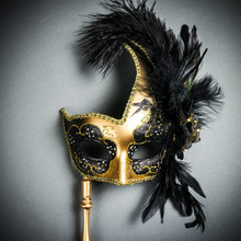 Venetian Side Feather Masquerade Mask with Stick - Gold Black