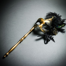 Venetian Side Feather Masquerade Mask with Stick - Gold Black (Whole mask)