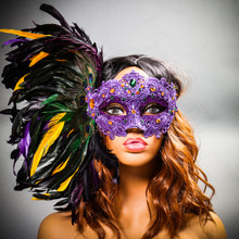 Luxury Traditional Venice Women Carnival Masquerade Venetian Mask with side Feather - Purple Yellow (with model)
