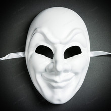 Jester Joker Halloween Masquerade Full Face Mask - White (Front)