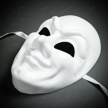 Jester Joker Halloween Masquerade Full Face Mask - White