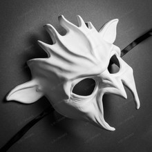 Halloween Fire Flame Demon Masquerade Full Face Mask - White
