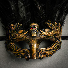 Halloween Skull Eye Mask with Black Feather -  Gold Black