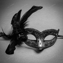 Crystal Glitter Venetian Women Feather Mask - Silver Black