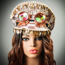 Steampunk Burning Man Captain Hat with Kaleidoscope 3D Goggles & Golden Leaf with model