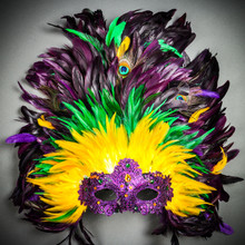 Luxury Traditional Venice Women Carnival Masquerade Venetian Mask with Round Top Feather Mardi Gras