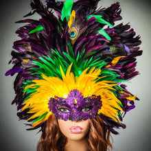 Luxury Traditional Venice Women Carnival Masquerade Venetian Mask with Round Top Feather Mardi Gras Model
