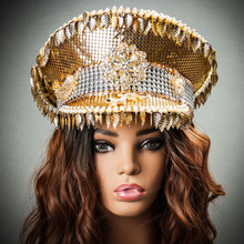 Steampunk Burning Man Captain Hat with Golden Leaf - Gold with Model